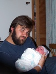 A very tired Daddy holding Annabel