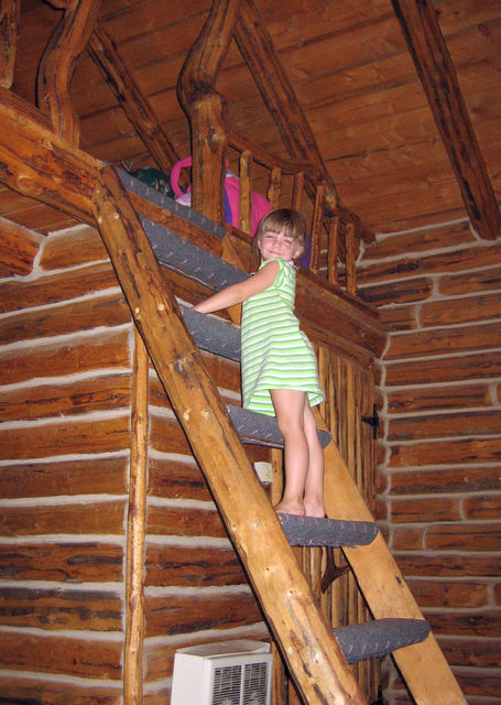 Climbing up to the sleeping loft