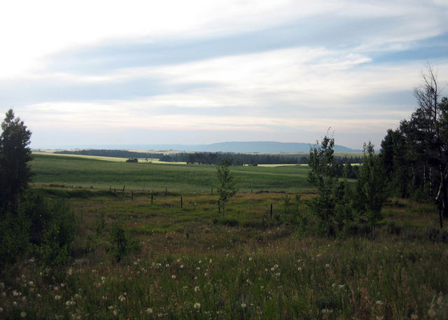 A short walk from the cabin gives you this view of Ashton, ID farmland