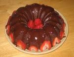 Gluten-free dutch chocolate bundt cake w/strawberries