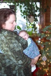 Grandma Joan lulling Annabel to sleep in the sling