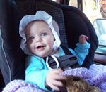 "Annabel in her ""big girl"" carseat!"