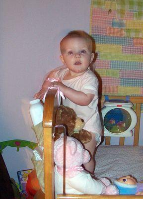 Annabel shaking the baby powder