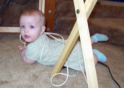 Annabel getting into the extension cords