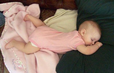 Annabel passed out on the couch