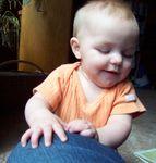 Annabel crawling on Momma (#2)