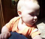 Annabel crawling on Momma (#5)