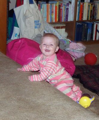 Annabel crawling up the stairs & laughing :)