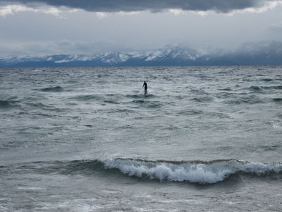 Someone surfing on the lake on Christmas Day