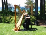 Beverly, the harpist, setting up before the wedding