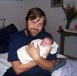 Daddy and Annabel one day old