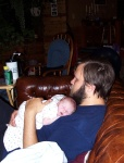 Daddy at home on Friday with a sleepy Annabel