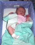 Annabel sleeping in her snuggle nest
